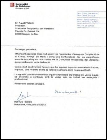 Carta del honorable  Sr. Boi Ruiz i Garcia, Consejero  de Salud de la Generalitat de Catalunya, con motivo de la inauguración de Can Zeriquiey