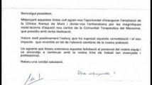 Carta de l'honorable Sr . Boi Rruiz i Garcia , Conseller de Salut de la Generalitat de Catalunya, amb motiu de la inauguració de Can Zeriquiey